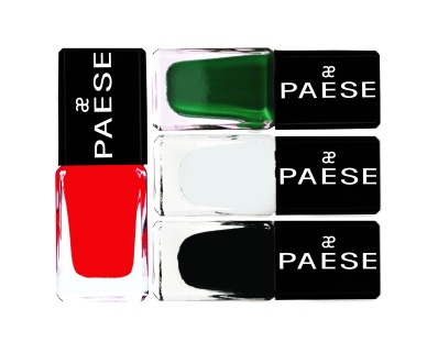 Paese Nailpolish in Glittering White, Fade Sparkling Black, Bottle Green Shine and Ruby Red Shimmer