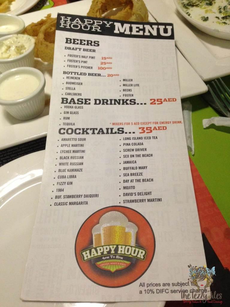 original wings and rings happy hour drinks menu