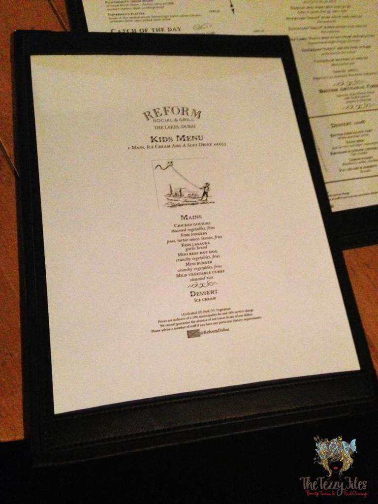 Reform Social & Grill Kid's Menu