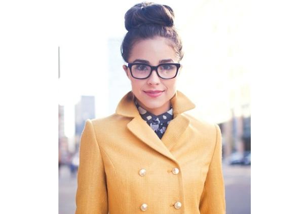 hair bun glasses