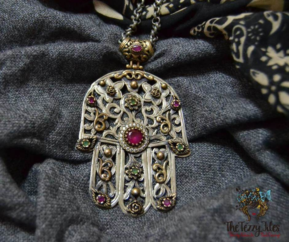 hamsa jewelry hand of fatima silver ruby emerald copper