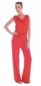 judith hobby red jumpsuit color blocking