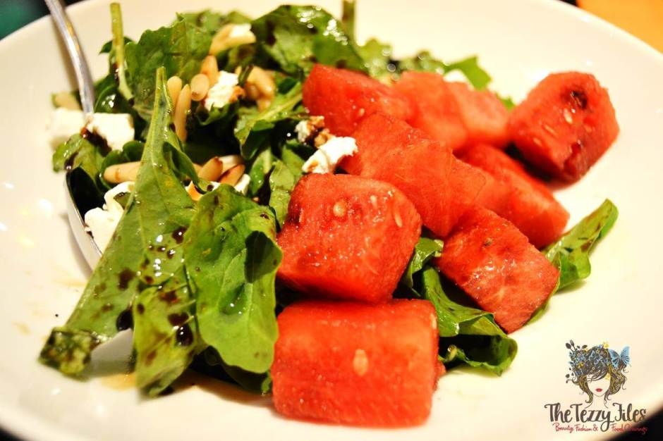 Rocket & feta cheese salad, with watermelon & balsamic-honey drizzle