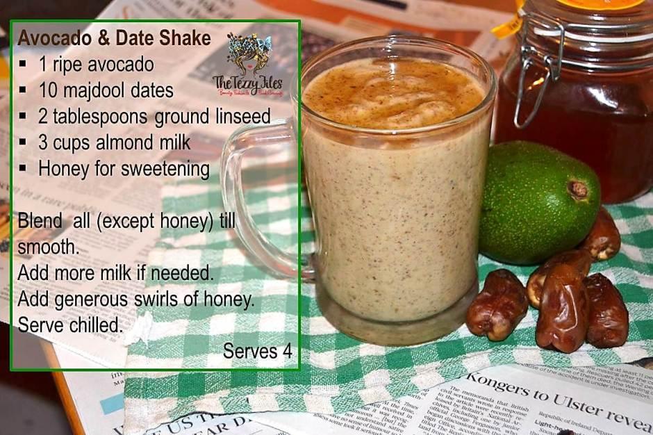 avocado date linseed shake recipe vegan paleo