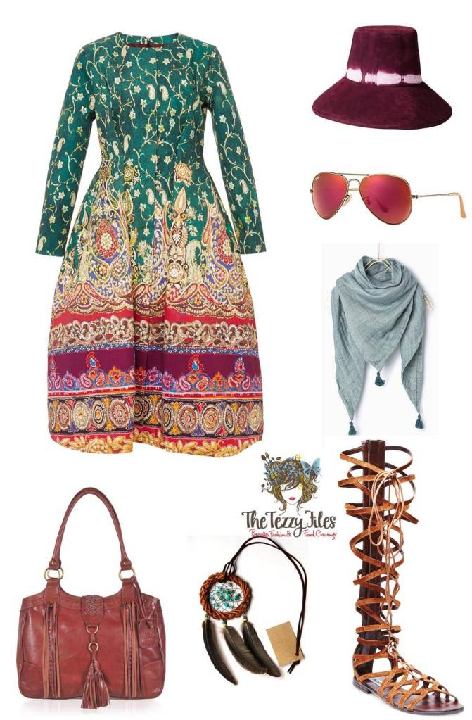 boho summer dress gladiator sandals bucket hat rayban aviators purple wine dream catcher necklace