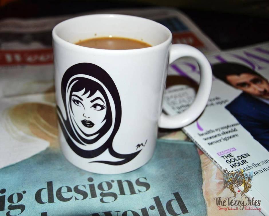 Habibi Cup Orange Boxy quirky coffee arabian girl motif