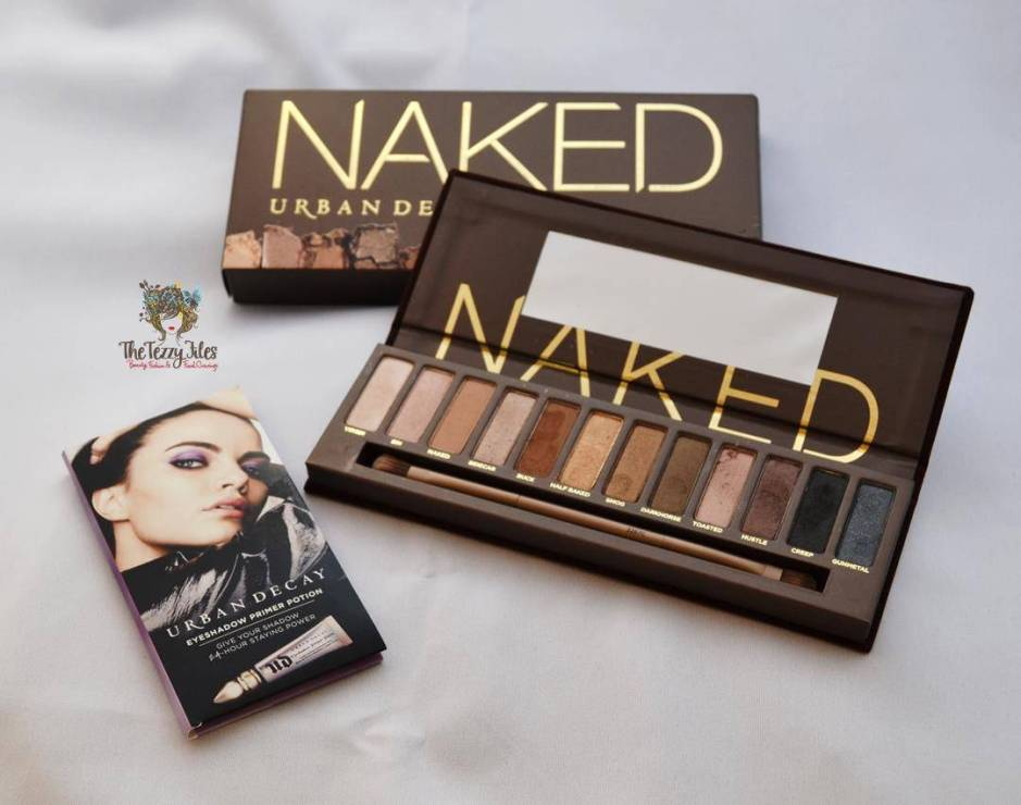 Urban Decay Naked eye shadow palette swatches colors primer brush