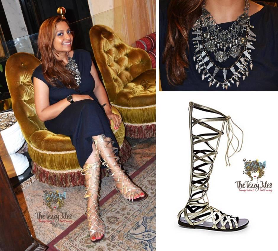 what i wore fashion gladiator hercules steve madden sandals zara statement necklace gap shift dress summer dubai fashion blog uae
