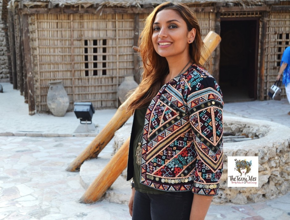 #ootd zara tribal jacket the tezzy files fashion blog dubai uae at dubai museum arabic embroidery coins indian