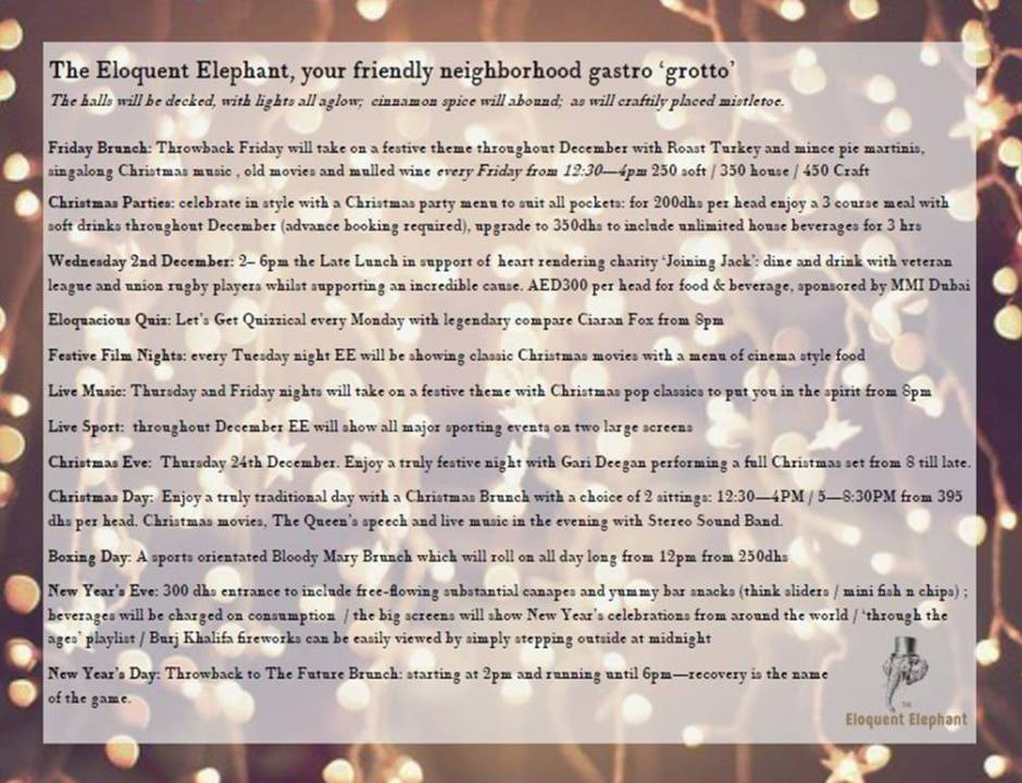 eloquent elephant christmas and new year menu specials