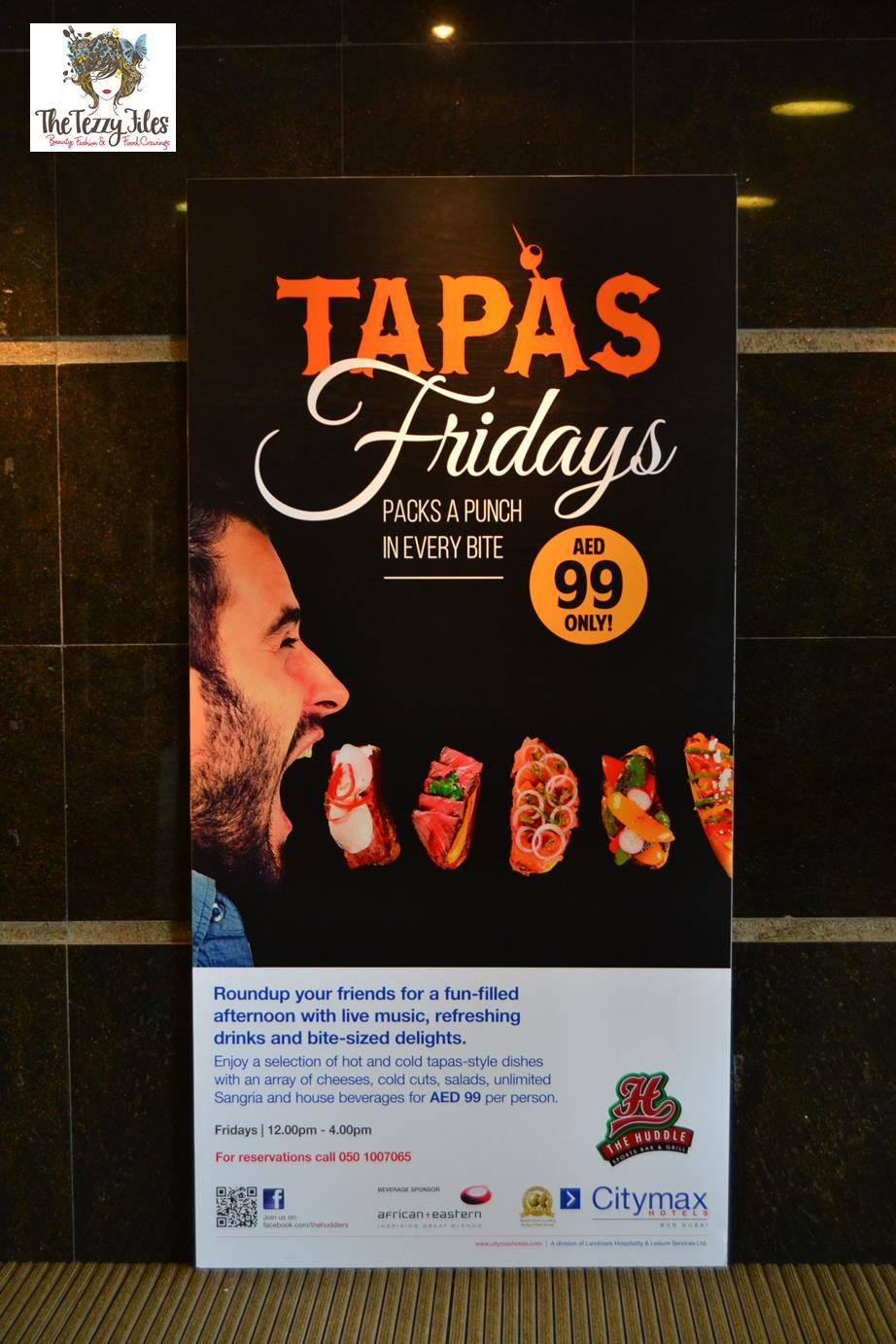 Huddle Bar Citimax Bur Dubai Friday Tapas Brunch review AED 99 all you can eat and drink alcohol Spanish bar sports bar live music (17)