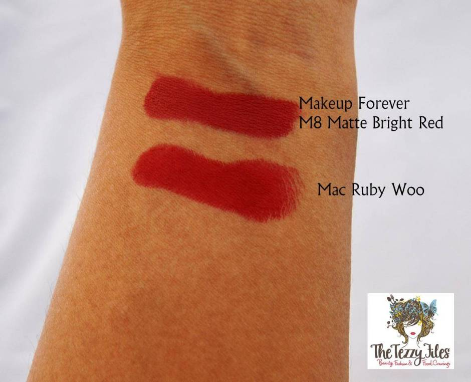 The reddest lipstick Mac Ruby Woo versus Makeup Forever M8 Matte Bright Red The Tezzy Files Beauty Blog Dubai (5)