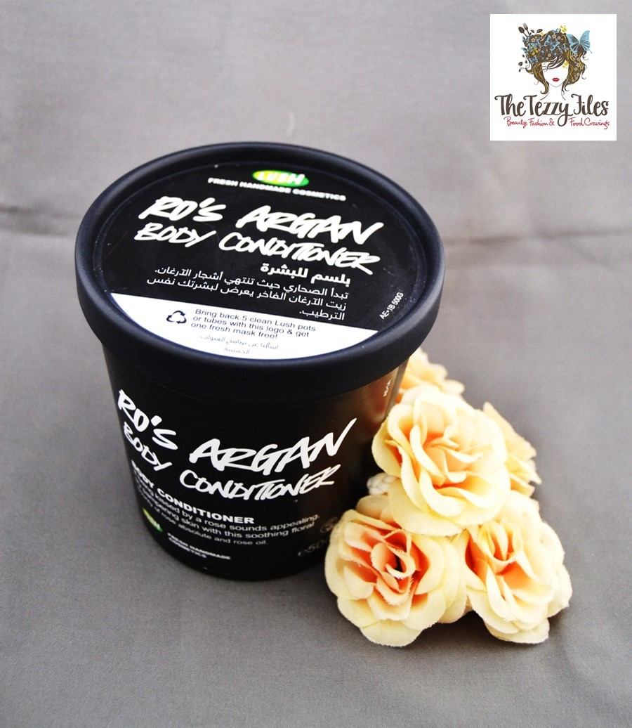 Lush Ro's Argan Body Conditioner Review on the tezzy files dubai beauty blog