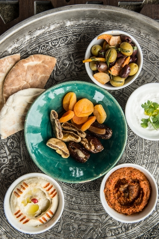 Dates and Dried Fruit, Fumezze hummus, labneh, smoked muhammara, olives with pitta & kubbus bread 2