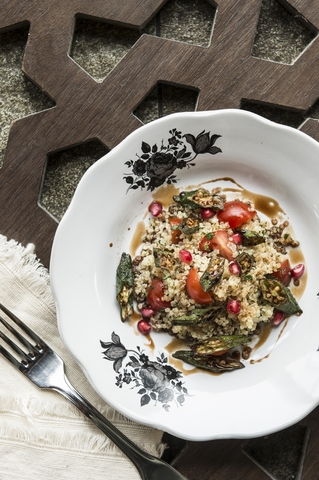 Quinoa, okra and pomegranate molasses salad 2