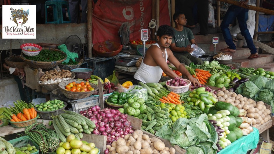 A vegetable stall in Guwahati, Assam.