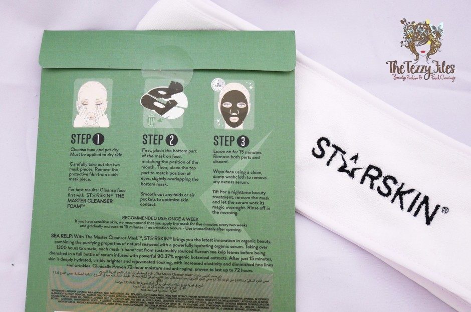 Starskin Master Cleanser Detox Sea Kelp Leaf Face Mask Review by The Tezzy Files Dubai Beauty Blogger Sephora Middle East Skincare instructions