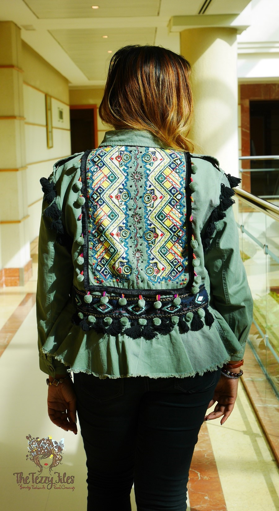 Zara Ethnic Tribal Khaki Jacket Dubai Fashion Blog The Tezzy Files Blogger UAE Indian Embroidery Mirror Work Jacket Casual pompoms