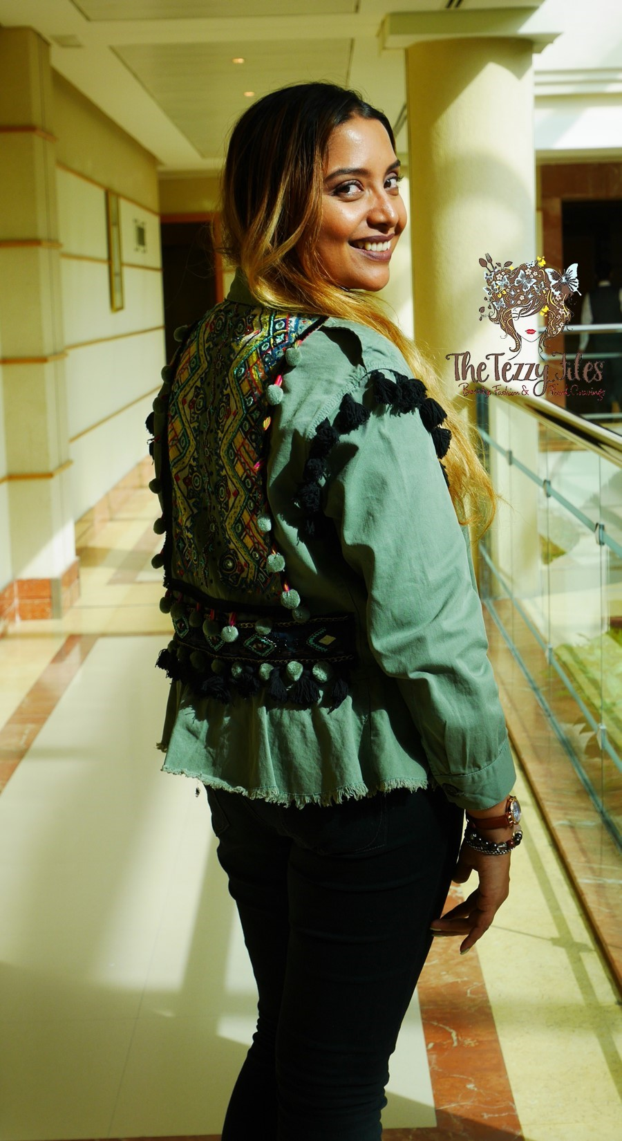 Zara Ethnic Tribal Khaki Jacket Dubai Fashion Blog The Tezzy Files Blogger UAE Indian Embroidery Mirror Work Jacket Casual