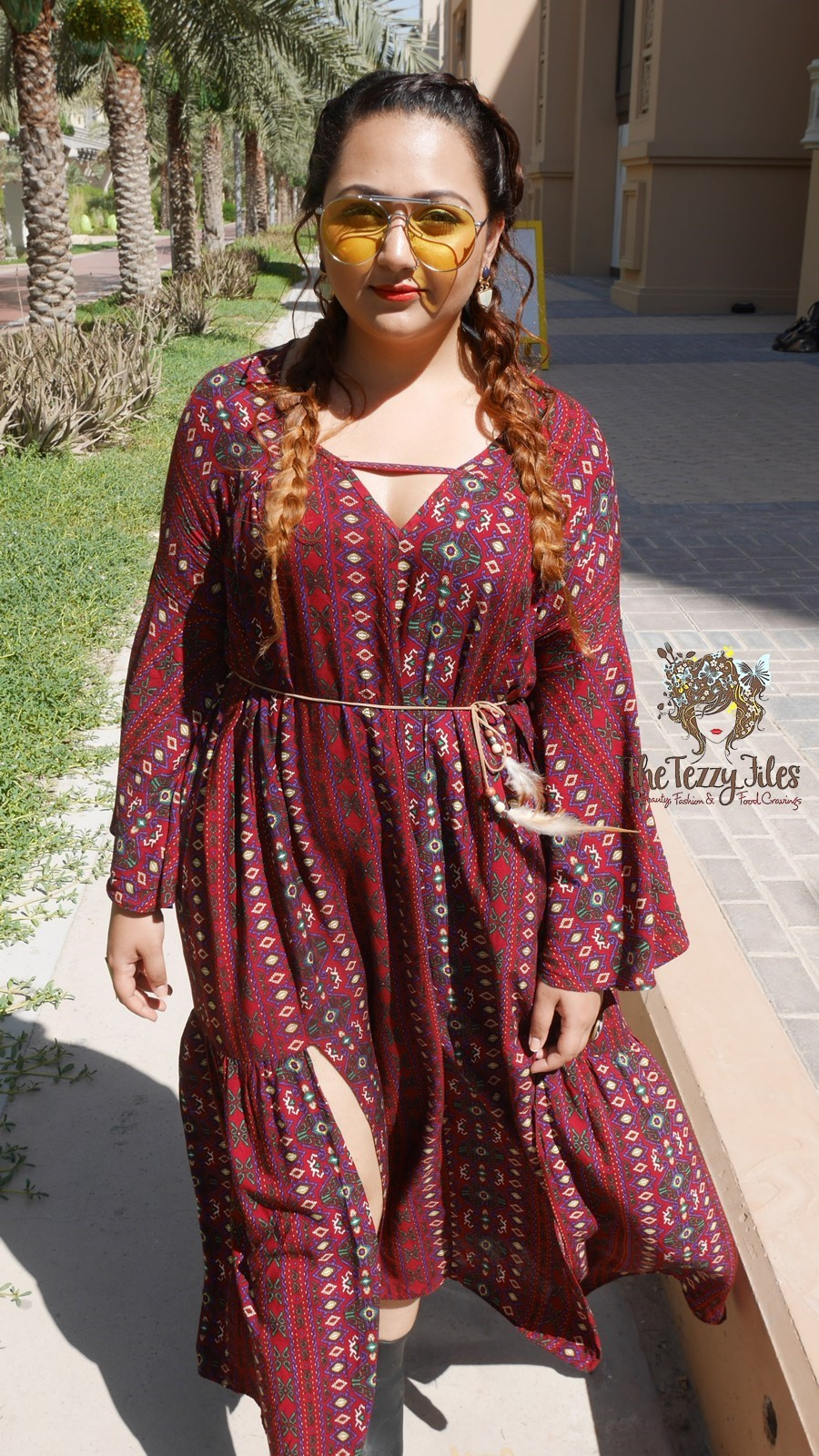 Blowout Bar Salon Shein Dress Review Fashion Blog The Tezzy Files Dubai Fashion Blog Khaleesi Style Braids Boho Bohemian Girls (12)