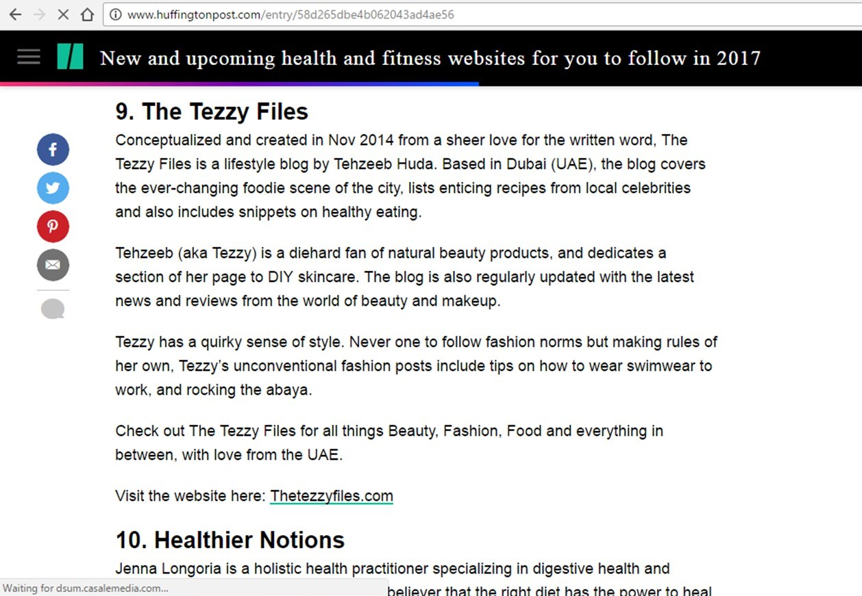 Huffington Post The Tezzy Files Dubai Lifestyle Blog Health Wellness Food Fashion Beauty
