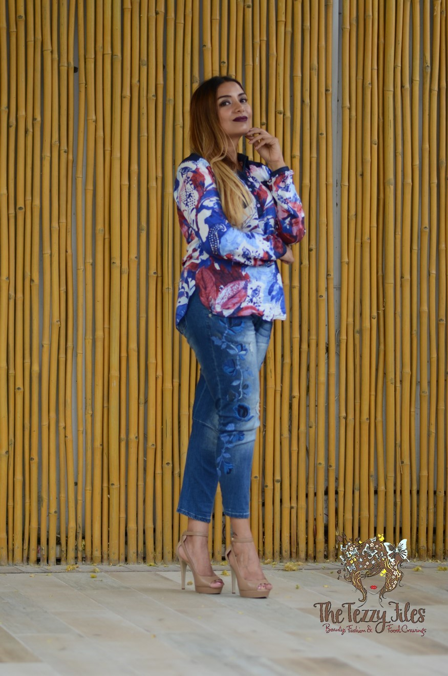 Desigual Dubai Fashion Blog The Tezzy Files UAE Lifestyle blog fashionista look of the day award winning best blogger uae photo shoot the farm al barari blue denim jeans what to wear (6