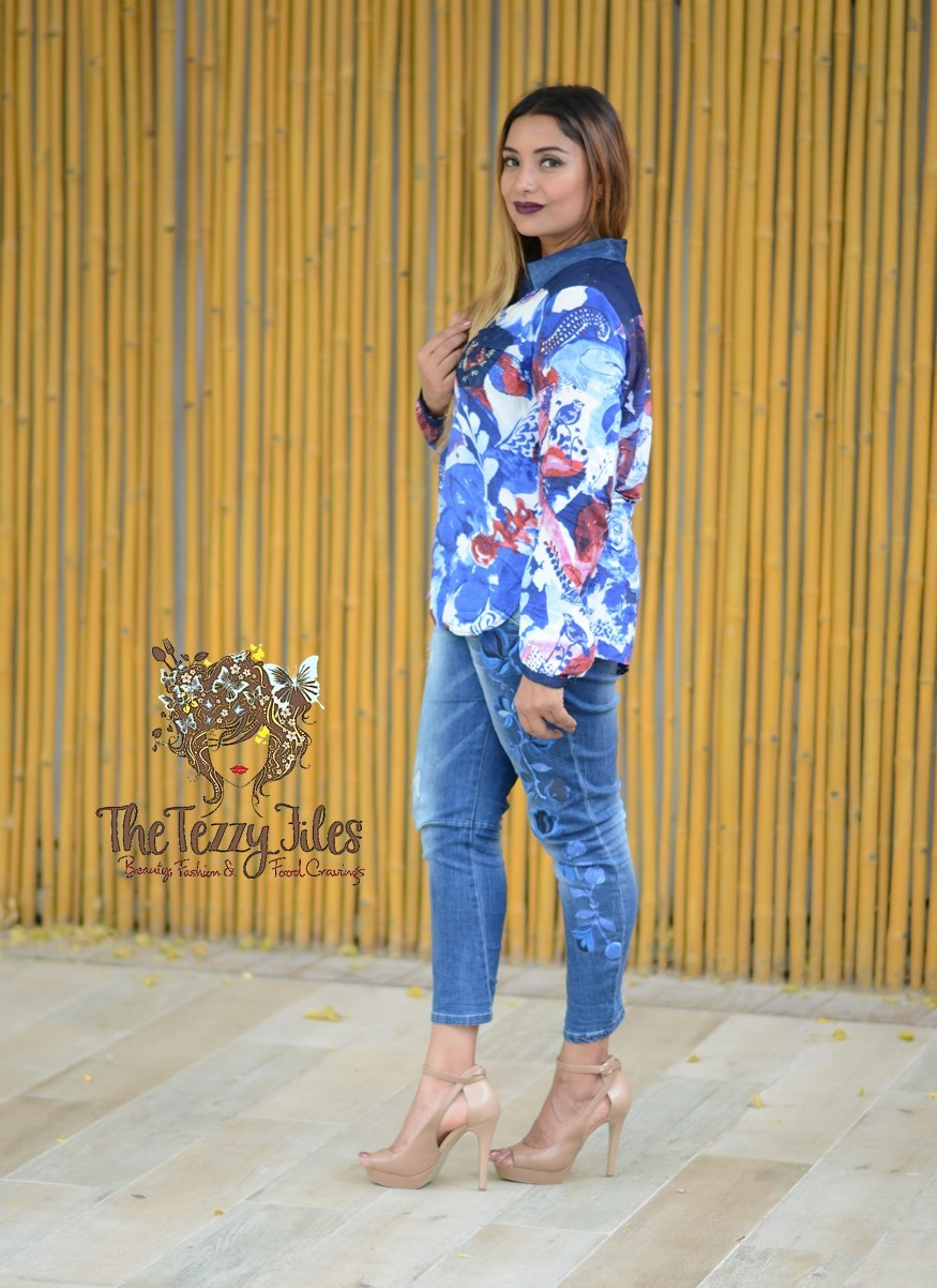 Desigual Dubai Fashion Blog The Tezzy Files UAE Lifestyle blog fashionista look of the day award winning best blogger uae photo shoot the farm al barari blue denim jeans what to wear (8