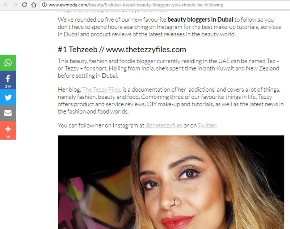 dubai top 5 beauty bloggers uae bloggers press media coverage ew moda the tezzy files