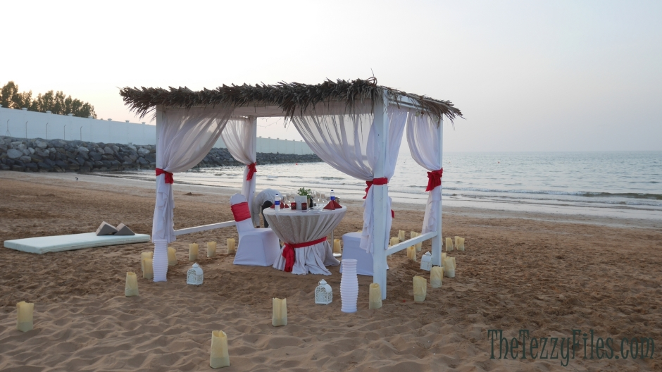 Bin Majid Beach Hotel review cabana romantic dinner on the beach dubai food fashion blog ras al khaimah rak (1)