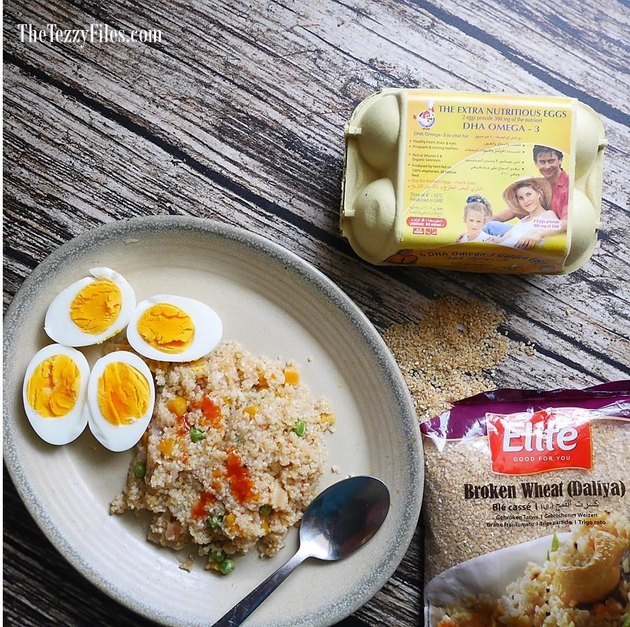 Healthy Wholesome Breakfast Recipe Stir Fried Dalia Boiled Eggs