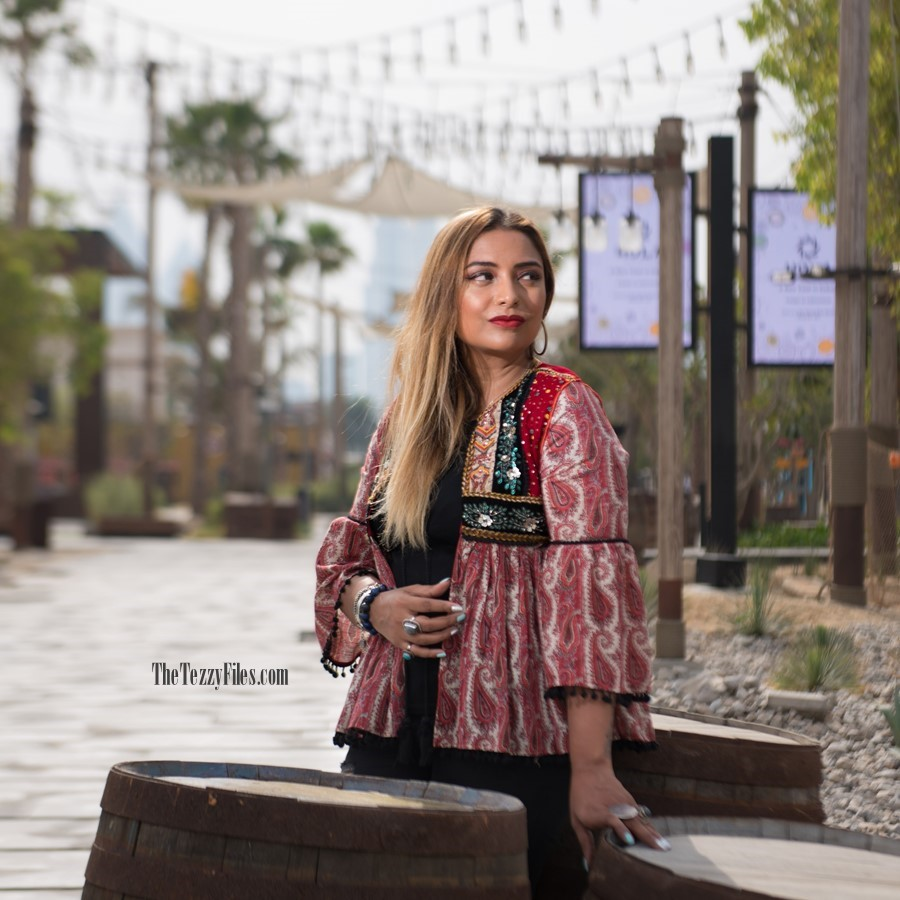 Dubai Fashion Blog Fashionista Blogger La Mer Dubai UAE influencer Middle East Zara Tribal Jacket Gypsy Style Beauty Fashion Shoot (3)
