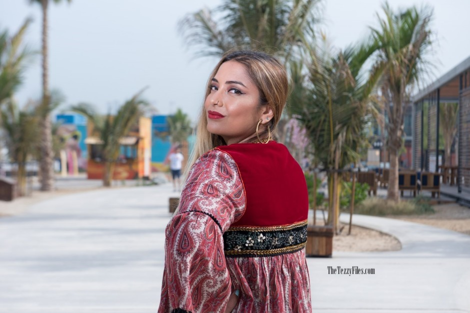 Dubai Fashion Blog Fashionista Blogger La Mer Dubai UAE influencer Middle East Zara Tribal Jacket Gypsy Style Beauty Fashion Shoot (4)