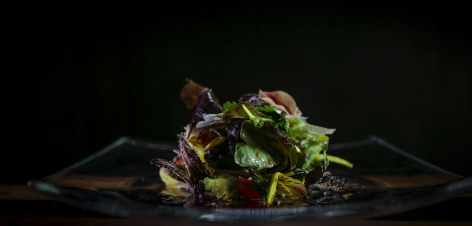 Quelites salad with hibiscus and edible flowers
